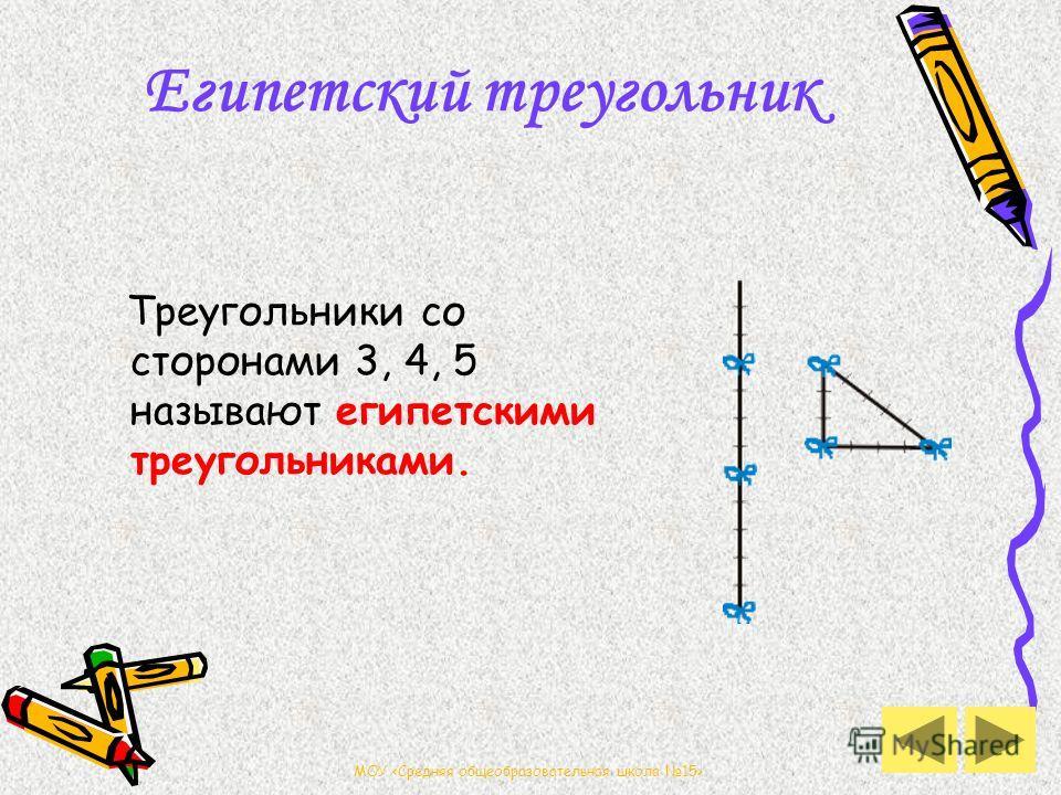 МОУ Египетский треугольник Треугольники со сторонами 3, 4, 5 называют египетскими треугольниками.