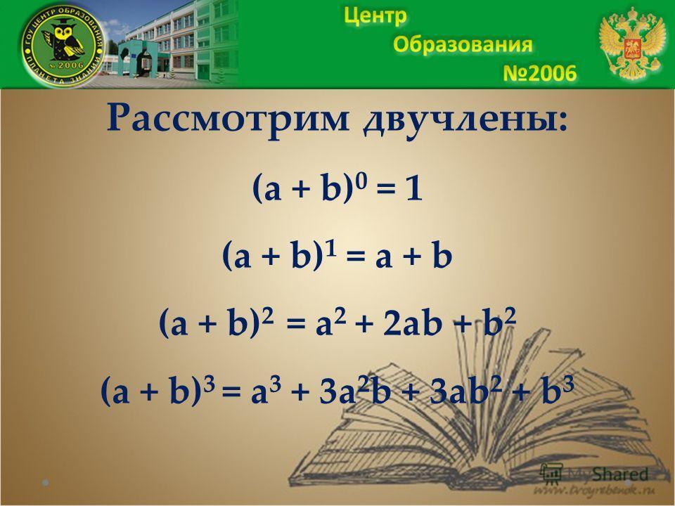 Рассмотрим двучлены: (a + b) 0 = 1 (a + b) 1 = a + b (a + b) 2 = a 2 + 2ab + b 2 (a + b) 3 = a 3 + 3a 2 b + 3ab 2 + b 3