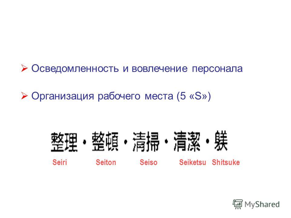 Осведомленность и вовлечение персонала Организация рабочего места (5 «S») Seiri Seiton Seiso Seiketsu Shitsuke
