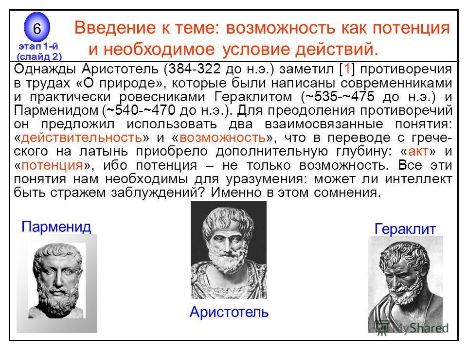 Введение к теме: возможность как потенция и необходимое условие действий. Однажды Аристотель (384-322 до н.э.) заметил [1] противоречия в трудах «О природе», которые были написаны современниками и практически ровесниками Гераклитом (~535-~475 до н.э.