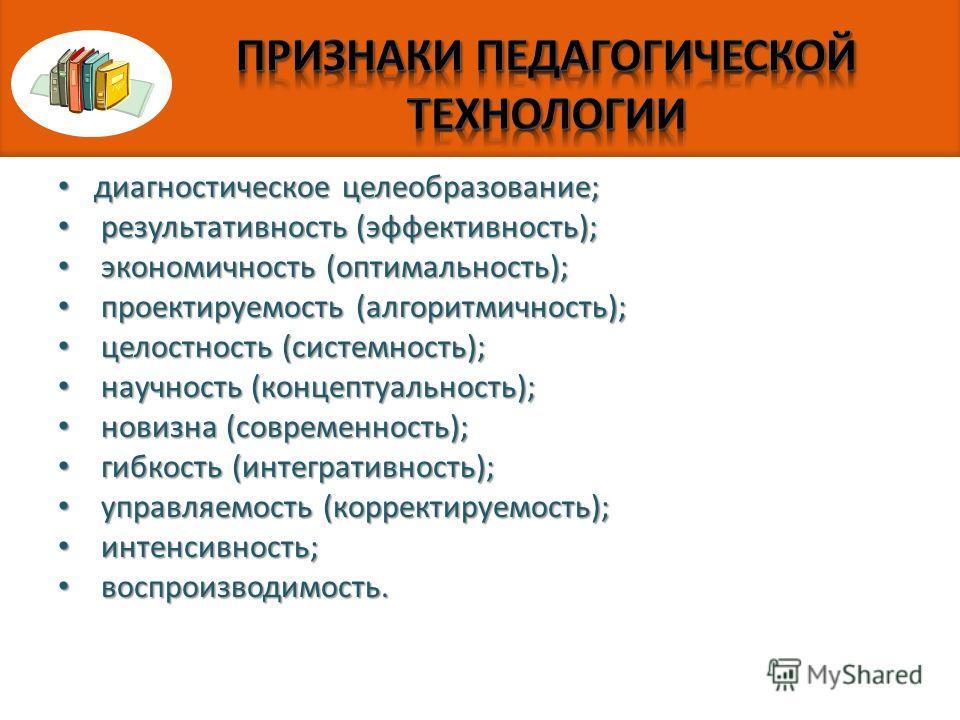 диагностическое целеобразование; диагностическое целеобразование; результативность (эффективность); результативность (эффективность); экономичность (оптимальность); экономичность (оптимальность); проектируемость (алгоритмичность); проектируемость (ал