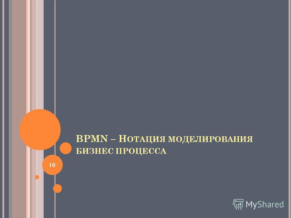 BPMN – Н ОТАЦИЯ МОДЕЛИРОВАНИЯ БИЗНЕС ПРОЦЕССА 16