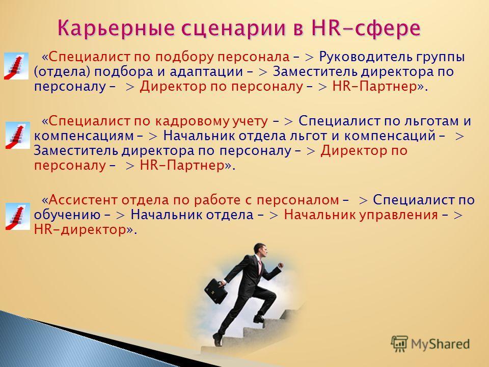 «Специалист по подбору персонала – > Руководитель группы (отдела) подбора и адаптации – > Заместитель директора по персоналу – > Директор по персоналу – > HR-Партнер». «Специалист по кадровому учету – > Специалист по льготам и компенсациям – > Началь
