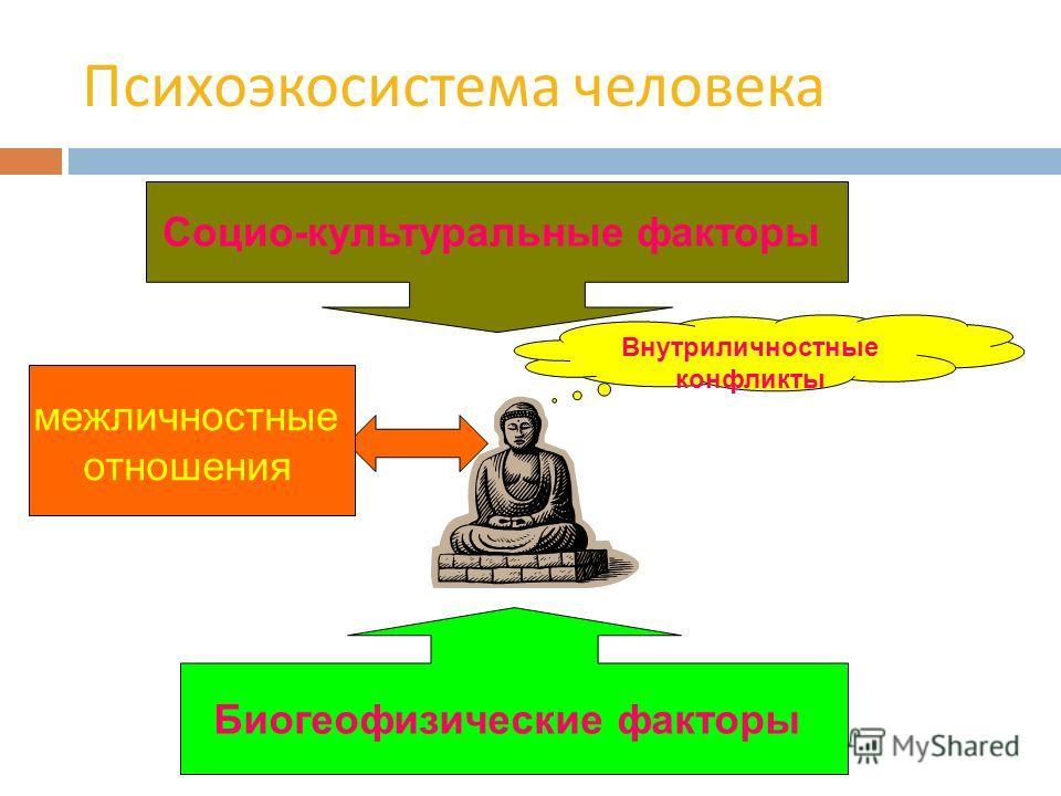 Психоэкосистема человека Социо-культуральные факторы Биогеофизические факторы межличностные отношения Внутриличностные конфликты