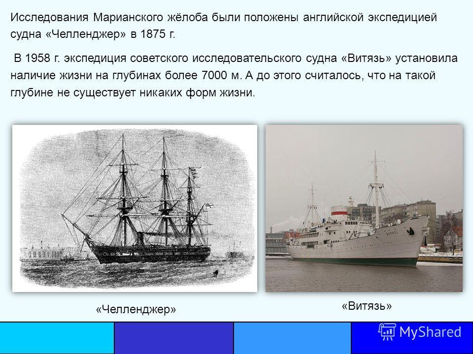 Исследования Марианского жёлоба были положены английской экспедицией судна «Челленджер» в 1875 г. В 1958 г. экспедиция советского исследовательского судна «Витязь» установила наличие жизни на глубинах более 7000 м. А до этого считалось, что на такой