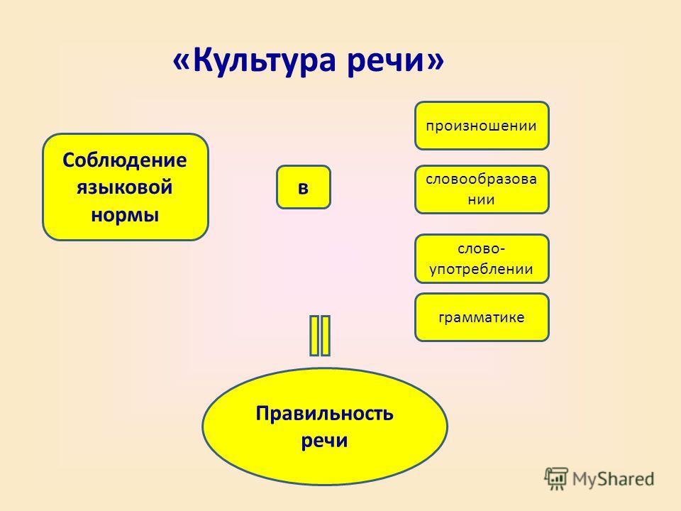 «Культура речи» Соблюдение языковой нормы произношении словообразова нии слово- употреблении в грамматике Правильность речи