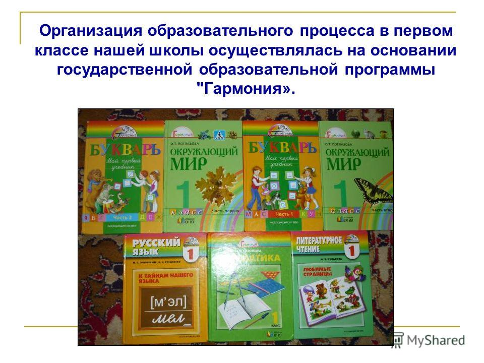 Организация образовательного процесса в первом классе нашей школы осуществлялась на основании государственной образовательной программы Гармония».