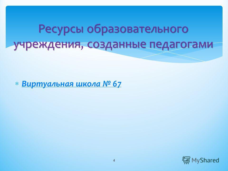Виртуальная школа 67 4 Ресурсыобразовательного учреждениясозданныепедагогами Ресурсы образовательного учреждения, созданные педагогами