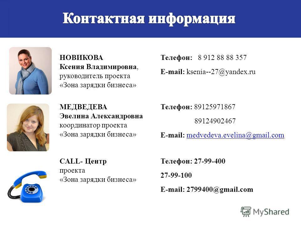 НОВИКОВА Ксения Владимировна, руководитель проекта «Зона зарядки бизнеса» Телефон: 8 912 88 88 357 E-mail: ksenia--27@yandex.ru МЕДВЕДЕВА Эвелина Александровна координатор проекта «Зона зарядки бизнеса» Телефон: 89125971867 89124902467 E-mail: medved