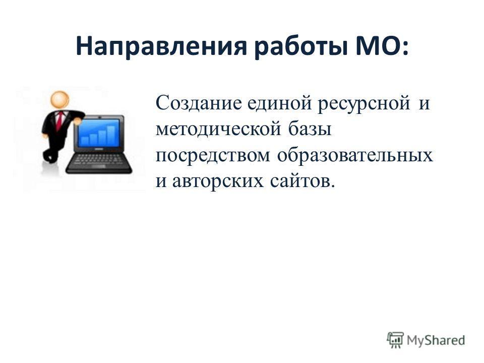 Направления работы МО: Создание единой ресурсной и методической базы посредством образовательных и авторских сайтов.