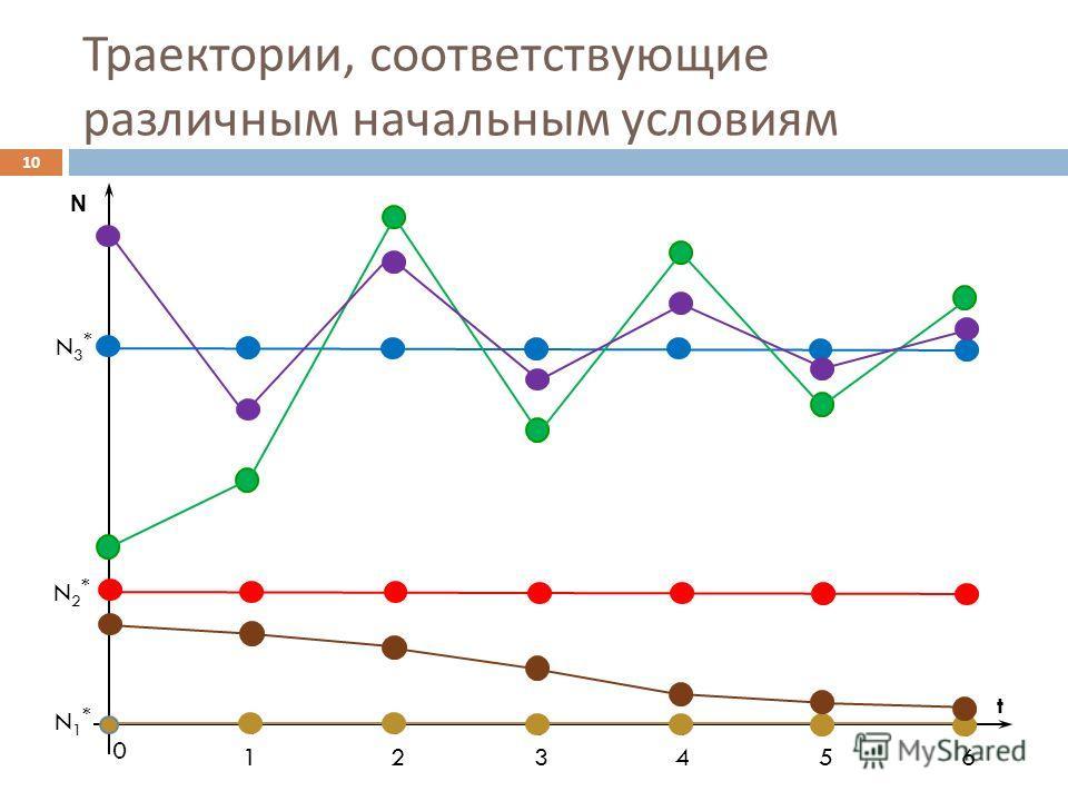 Траектории, соответствующие различным начальным условиям 10 N t 0 123456 N1*N1* N2*N2* N3*N3*