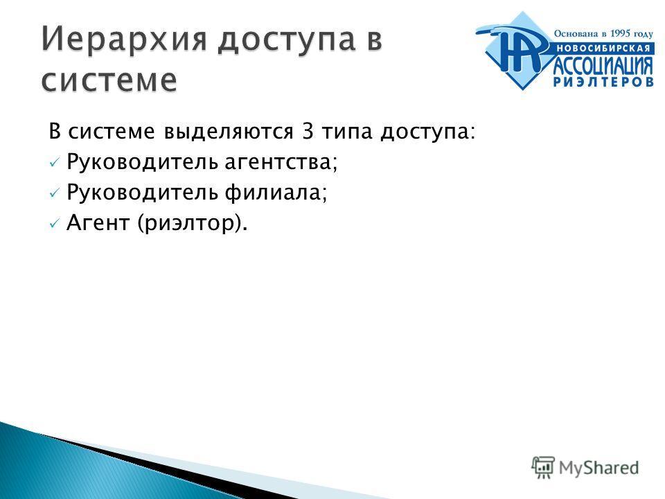 В системе выделяются 3 типа доступа: Руководитель агентства; Руководитель филиала; Агент (риэлтор).