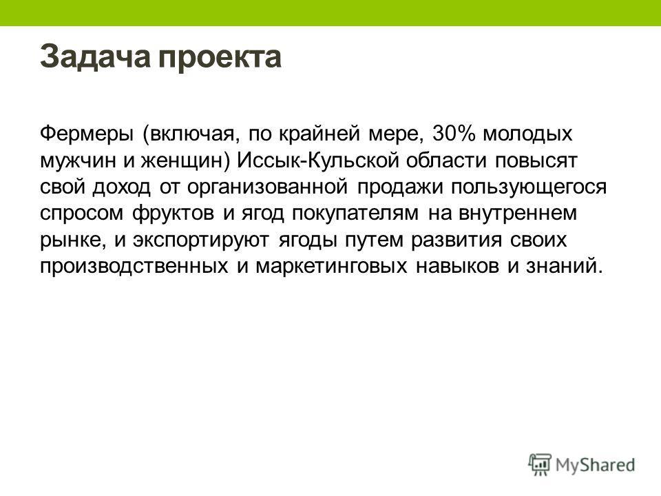 Задача проекта Фермеры (включая, по крайней мере, 30% молодых мужчин и женщин) Иссык-Кульской области повысят свой доход от организованной продажи пользующегося спросом фруктов и ягод покупателям на внутреннем рынке, и экспортируют ягоды путем развит