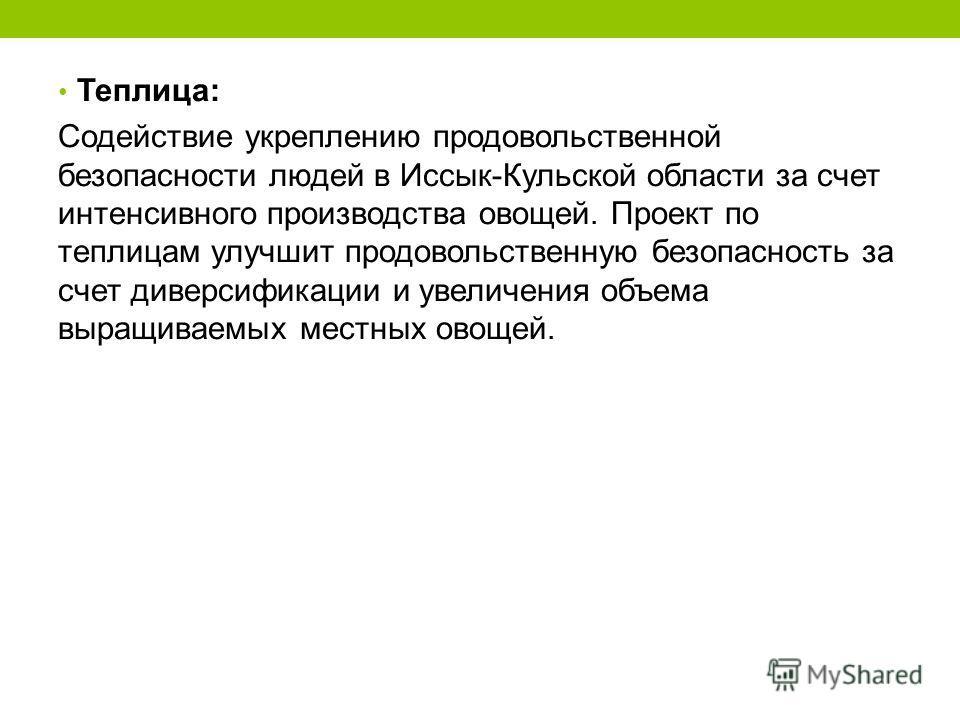 Теплица: Содействие укреплению продовольственной безопасности людей в Иссык-Кульской области за счет интенсивного производства овощей. Проект по теплицам улучшит продовольственную безопасность за счет диверсификации и увеличения объема выращиваемых м