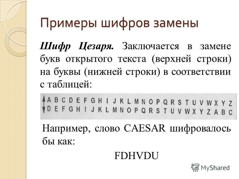Примеры шифров замены Шифр Цезаря. Заключается в замене букв открытого текста (верхней строки) на буквы (нижней строки) в соответствии с таблицей: Например, слово CAESAR шифровалось бы как: FDHVDU