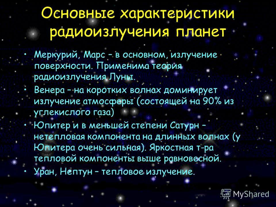Основные характеристики радиоизлучения планет Меркурий, Марс – в основном, излучение поверхности. Применима теория радиоизлучения Луны. Венера – на коротких волнах доминирует излучение атмосферы (состоящей на 90% из углекислого газа) Юпитер и в меньш