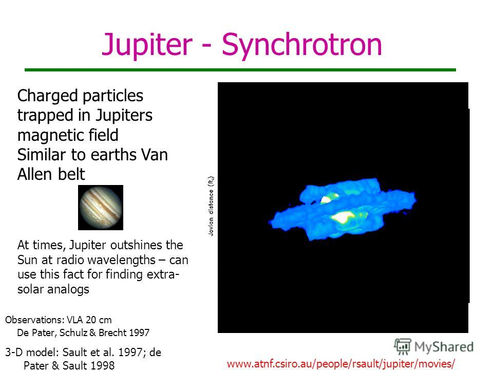 Jupiter - Synchrotron Observations: VLA 20 cm De Pater, Schulz & Brecht 1997 3-D model: Sault et al. 1997; de Pater & Sault 1998 www.atnf.csiro.au/people/rsault/jupiter/movies/ Charged particles trapped in Jupiters magnetic field Similar to earths Va