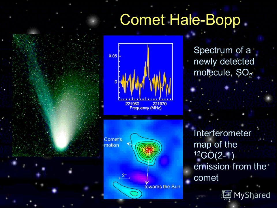 Comet Hale-Bopp Spectrum of a newly detected molecule, SO 2 Interferometer map of the 12 CO(2-1) emission from the comet