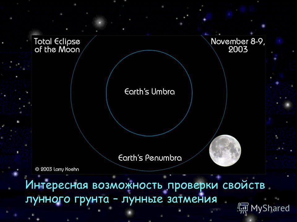 Интересная возможность проверки свойств лунного грунта – лунные затмения