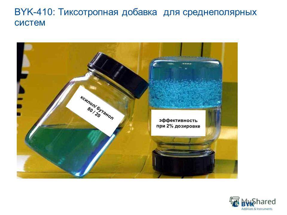ксилол/ бутанол 80 / 20 эффективность при 2% дозировке BYK-410: Тиксотропная добавка для среднеполярных систем