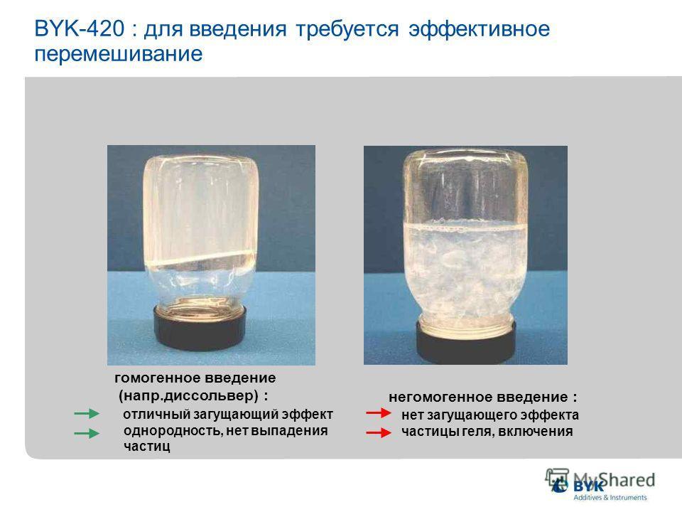 BYK-420 : для введения требуется эффективное перемешивание негомогенное введение : нет загущающего эффекта частицы геля, включения гомогенное введение (напр.диссольвер) : отличный загущающий эффект однородность, нет выпадения частиц