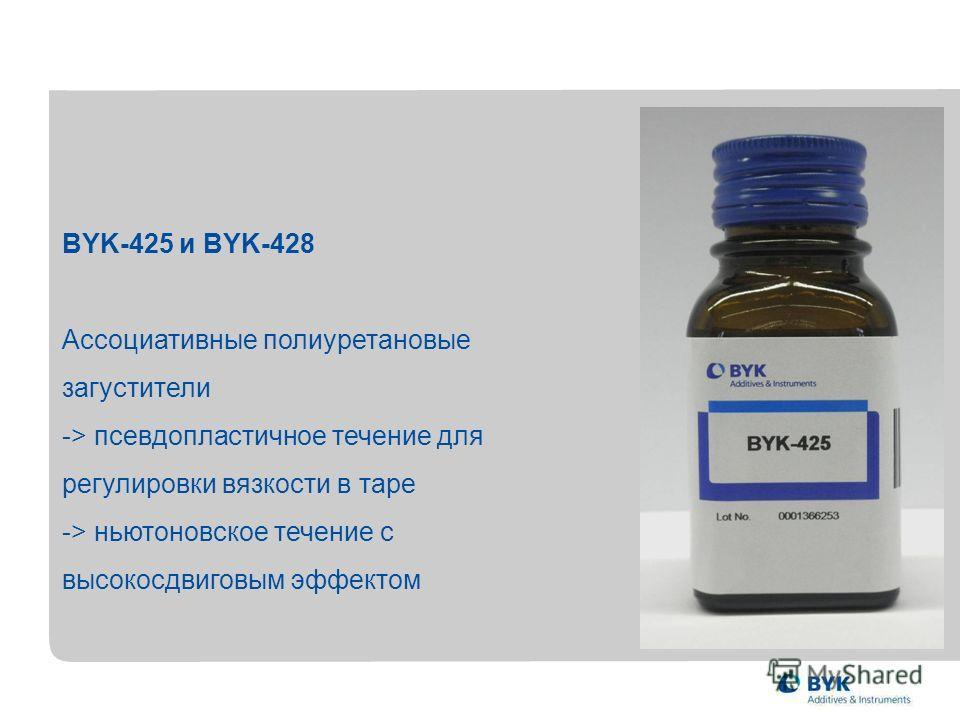 BYK-425 и BYK-428 Ассоциативные полиуретановые загустители -> псевдопластичное течение для регулировки вязкости в таре -> ньютоновское течение с высокосдвиговым эффектом