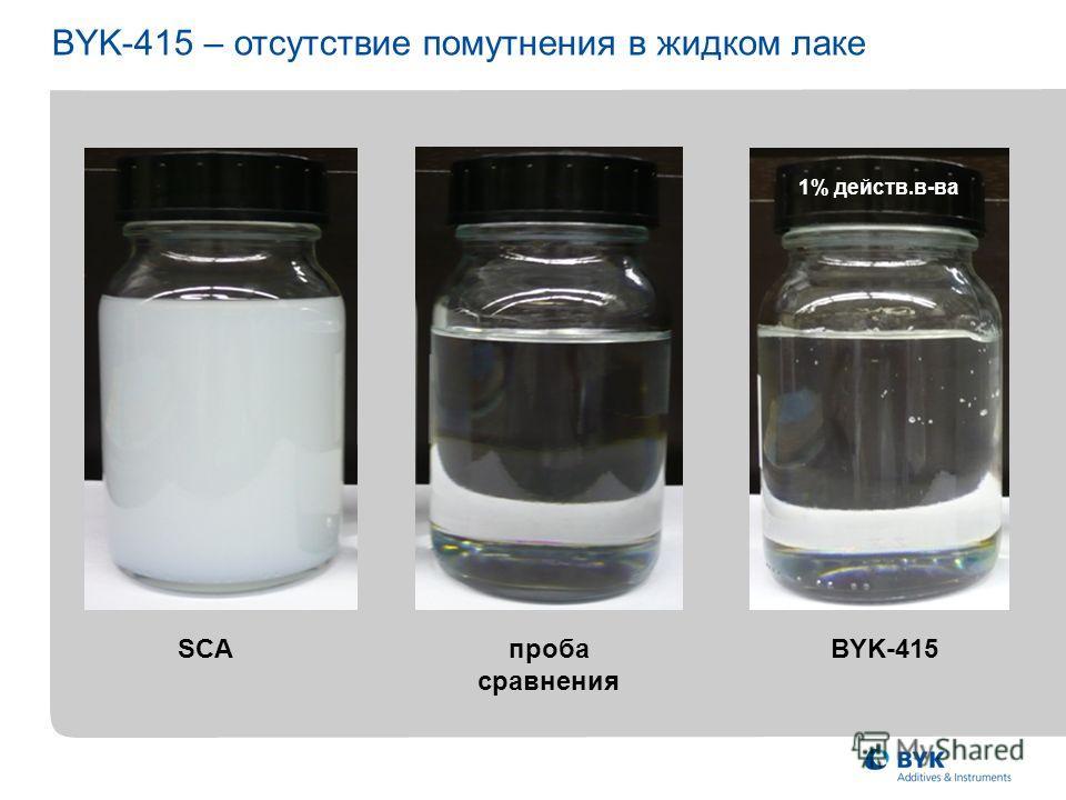 1% действ.в-ва BYK-415 – отсутствие помутнения в жидком лаке SCAпроба сравнения BYK-415