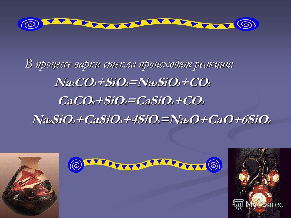В процессе варки стекла происходят реакции: Na 2 CO 3 +SiO 2 =Na 2 SiO 3 +CO 2 Na 2 CO 3 +SiO 2 =Na 2 SiO 3 +CO 2 CaCO 3 +SiO 2 =CaSiO 3 +CO 2 CaCO 3 +SiO 2 =CaSiO 3 +CO 2 Na 2 SiO 3 +CaSiO 3 +4SiO 2 =Na 2 O+CaO+6SiO 2 Na 2 SiO 3 +CaSiO 3 +4SiO 2 =Na