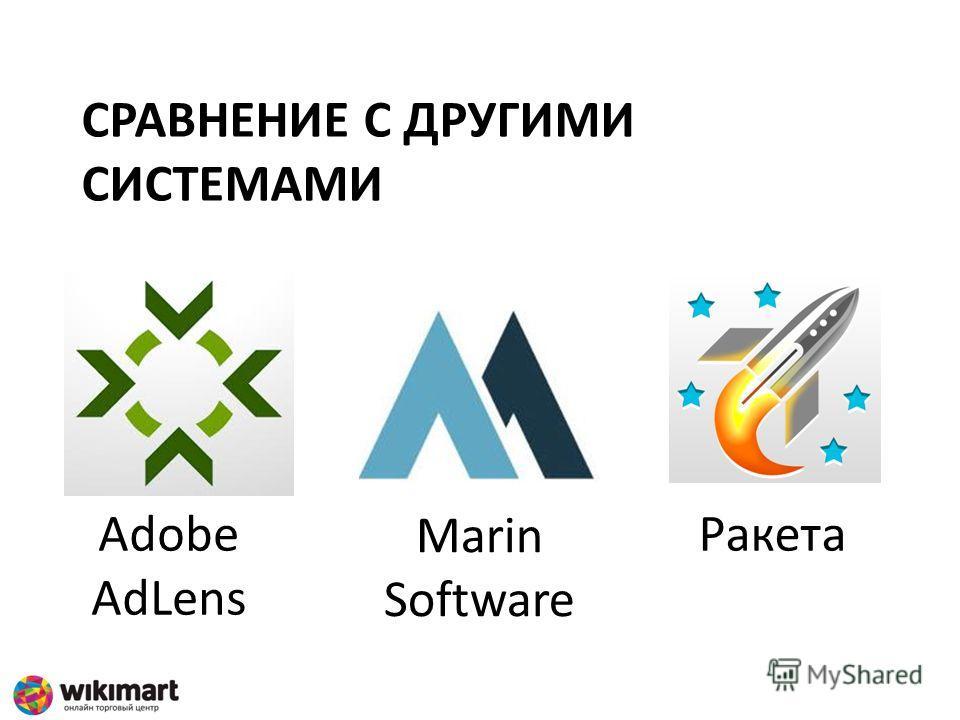 СРАВНЕНИЕ С ДРУГИМИ СИСТЕМАМИ Adobe AdLens Marin Software Ракета