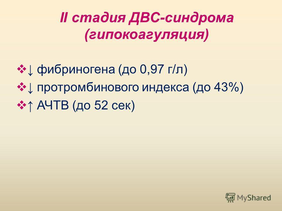 II стадия ДВС-синдрома (гипокоагуляция) фибриногена (до 0,97 г/л) протромбинового индекса (до 43%) АЧТВ (до 52 сек)
