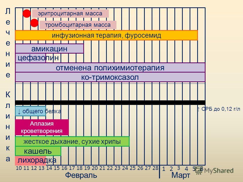 10111213141516171819202122232425262728 12 3 456 ФевральМарт лихорадка ко-тримоксазол кашель амикацин цефазолин жесткое дыхание, сухие хрипы эритроцитарная масса тромбоцитарная масса отменена полихимиотерапия общего белка СРБ до 0,12 г/л инфузионная т