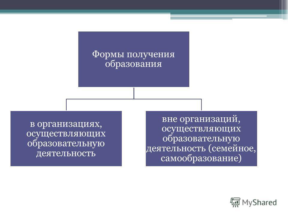 Формы получения образования в организациях, осуществляющих образовательную деятельность вне организаций, осуществляющих образовательную деятельность (семейное, самообразование)