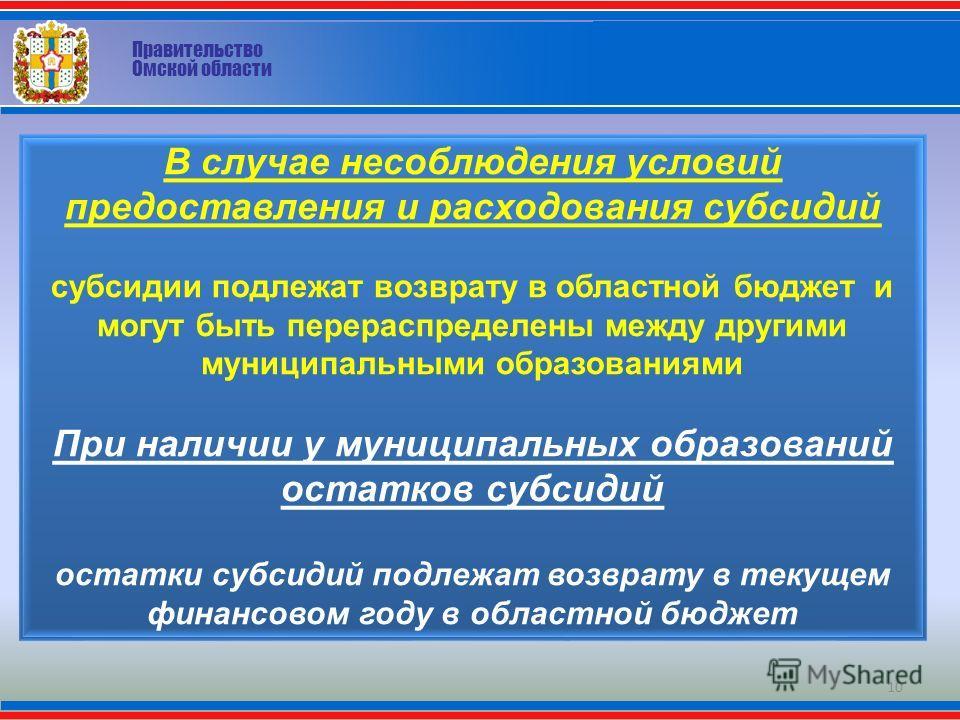 Правительство Омской области В случае несоблюдения условий предоставления и расходования субсидий субсидии подлежат возврату в областной бюджет и могут быть перераспределены между другими муниципальными образованиями При наличии у муниципальных образ