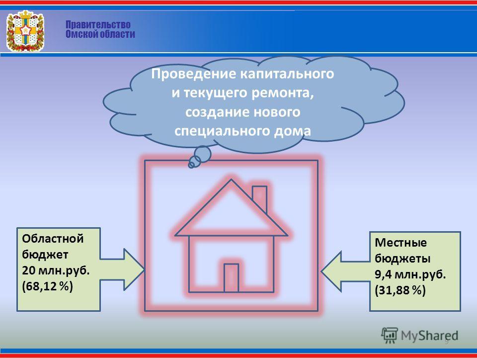 Правительство Омской области 9 Проведение капитального и текущего ремонта, создание нового специального дома Областной бюджет 20 млн.руб. (68,12 %) Местные бюджеты 9,4 млн.руб. (31,88 %)