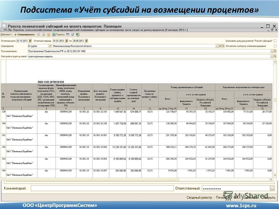 Подсистема «Учёт субсидий на возмещении процентов» www.1cps.ru ООО «ЦентрПрограммСистем»