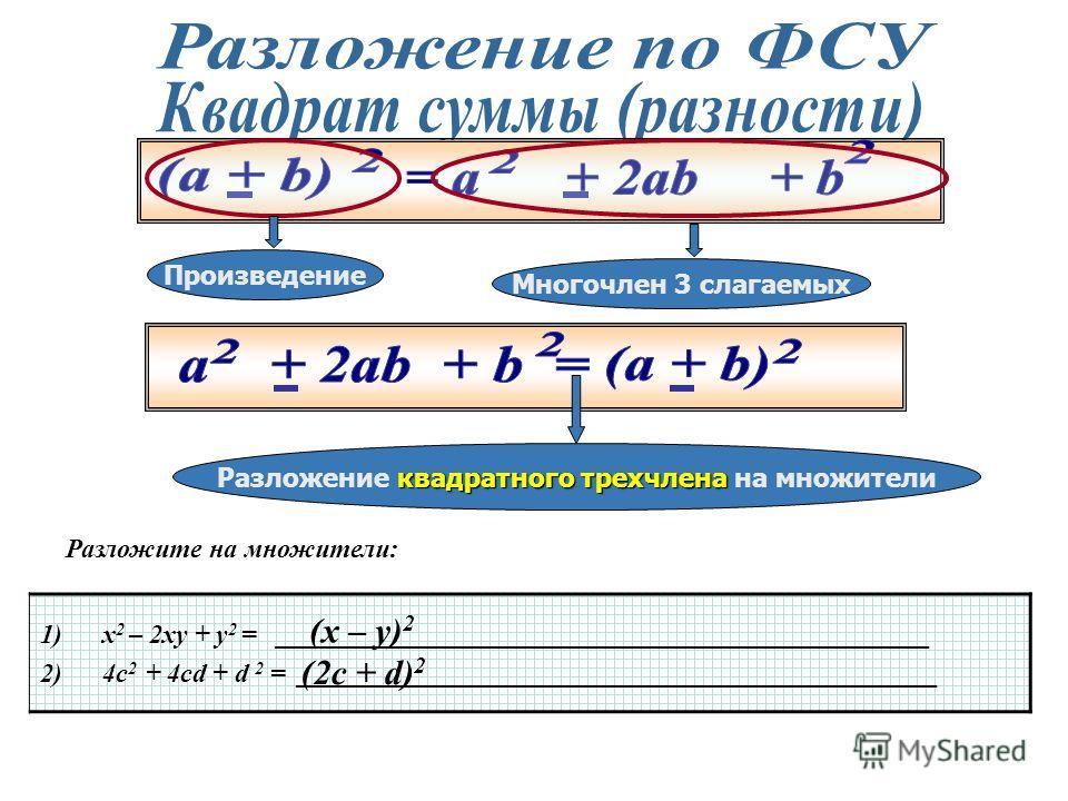 квадрату первого Квадрат суммы, разности двух чисел равен квадрату первого удвоенное произведение числа, плюс, минус удвоенное произведение первого квадрат второго числа на вторе, плюс квадрат второго числа 1)(х – у) 2 = _____________________________