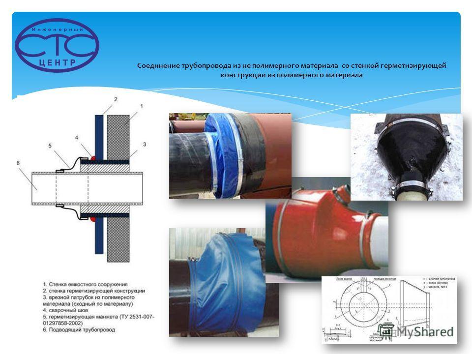 Соединение трубопровода из не полимерного материала со стенкой герметизирующей конструкции из полимерного материала