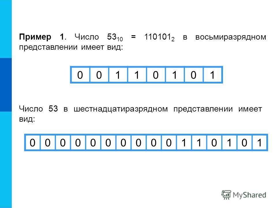 Пример 1. Число 53 10 = 110101 2 в восьмиразрядном представлении имеет вид: 00110101 Число 53 в шестнадцатиразрядном представлении имеет вид: 0000000000110101