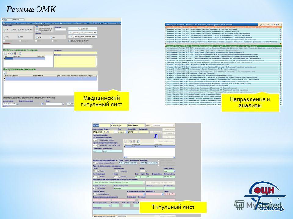 Резюме ЭМК Медицинский титульный лист Направления и анализы Титульный лист
