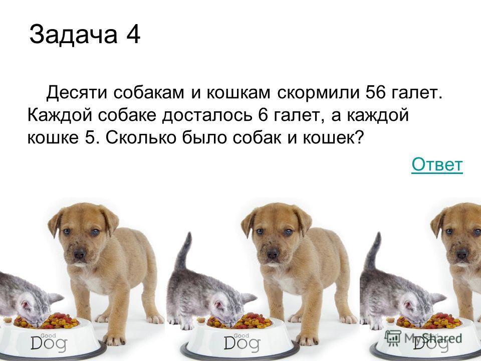 Задача 4 Десяти собакам и кошкам скормили 56 галет. Каждой собаке досталось 6 галет, а каждой кошке 5. Сколько было собак и кошек? Ответ