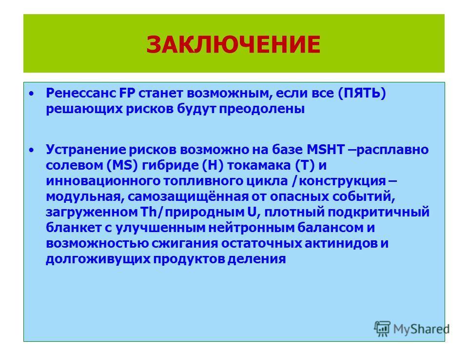 Ренессанс FP станет возможным, если все (ПЯТЬ) решающих рисков будут преодолены Устранение рисков возможно на базе MSHT –расплавно солевом (MS) гибриде (Н) токамака (Т) и инновационного топливного цикла /конструкция – модульная, самозащищённая от опа