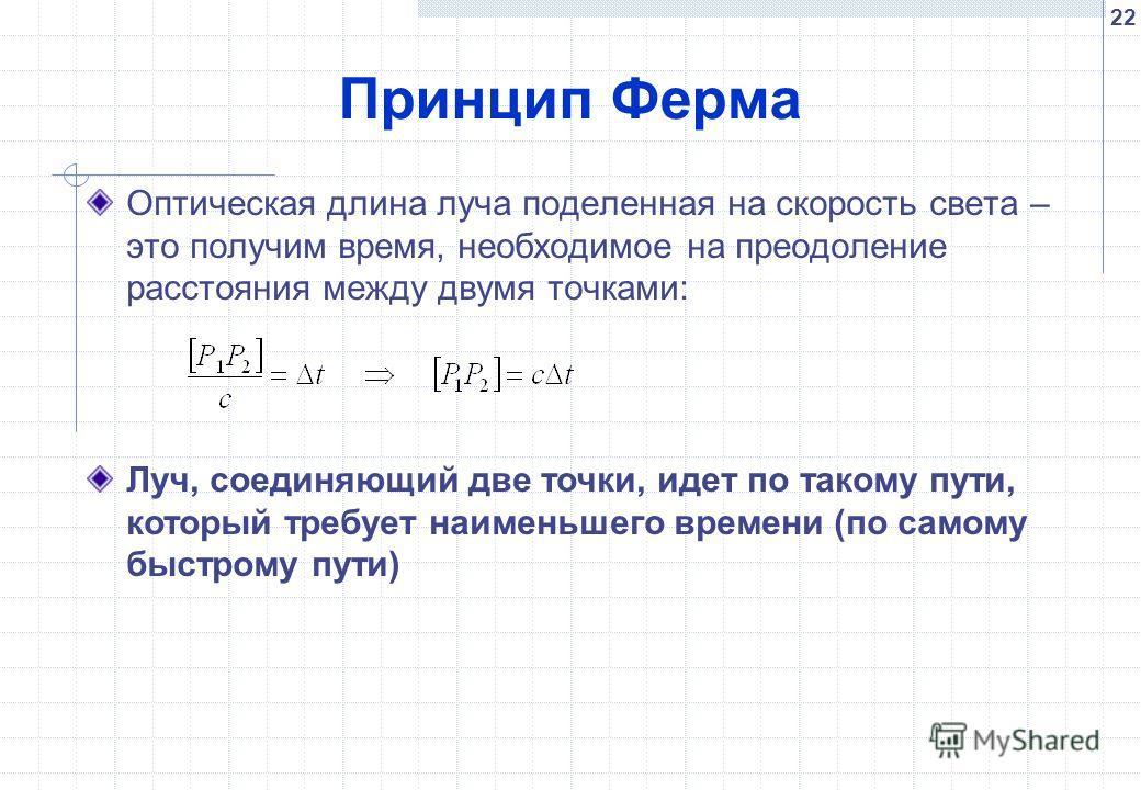 22 Принцип Ферма Оптическая длина луча поделенная на скорость света – это получим время, необходимое на преодоление расстояния между двумя точками: Луч, соединяющий две точки, идет по такому пути, который требует наименьшего времени (по самому быстро