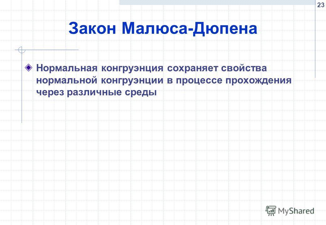 23 Закон Малюса-Дюпена Нормальная конгруэнция сохраняет свойства нормальной конгруэнции в процессе прохождения через различные среды