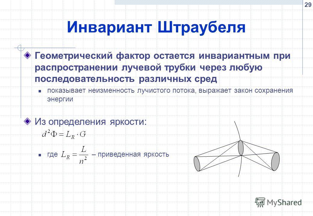 29 Инвариант Штраубеля Геометрический фактор остается инвариантным при распространении лучевой трубки через любую последовательность различных сред показывает неизменность лучистого потока, выражает закон сохранения энергии Из определения яркости: гд