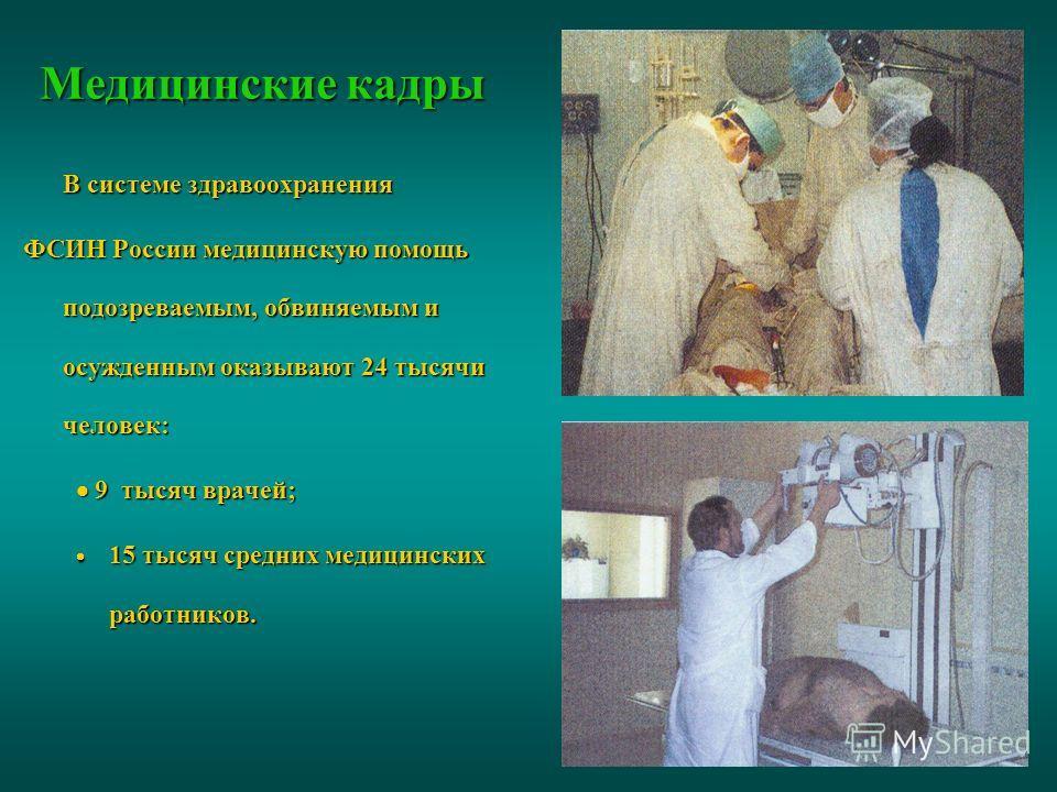 Медицинские кадры В системе здравоохранения ФСИН России медицинскую помощь подозреваемым, обвиняемым и осужденным оказывают 24 тысячи человек: 9 тысяч врачей; 9 тысяч врачей; 15 тысяч средних медицинских работников. 15 тысяч средних медицинских работ