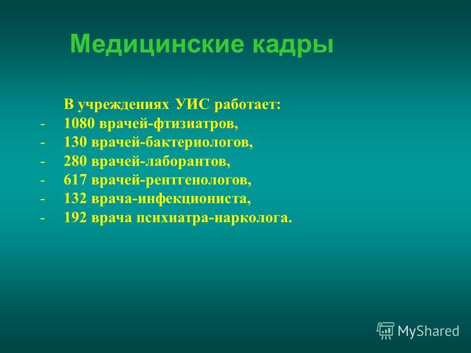 Медицинские кадры В учреждениях УИС работает: -1080 врачей-фтизиатров, -130 врачей-бактериологов, -280 врачей-лаборантов, -617 врачей-рентгенологов, -132 врача-инфекциониста, -192 врача психиатра-нарколога.