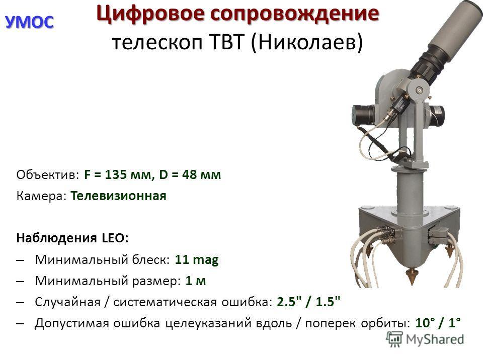 УМОС Цифровое сопровождение Цифровое сопровождение телескоп ТВТ (Николаев) Объектив: F = 135 мм, D = 48 мм Камера: Телевизионная Наблюдения LEO: – Минимальный блеск: 11 mag – Минимальный размер: 1 м – Случайная / систематическая ошибка: 2.5