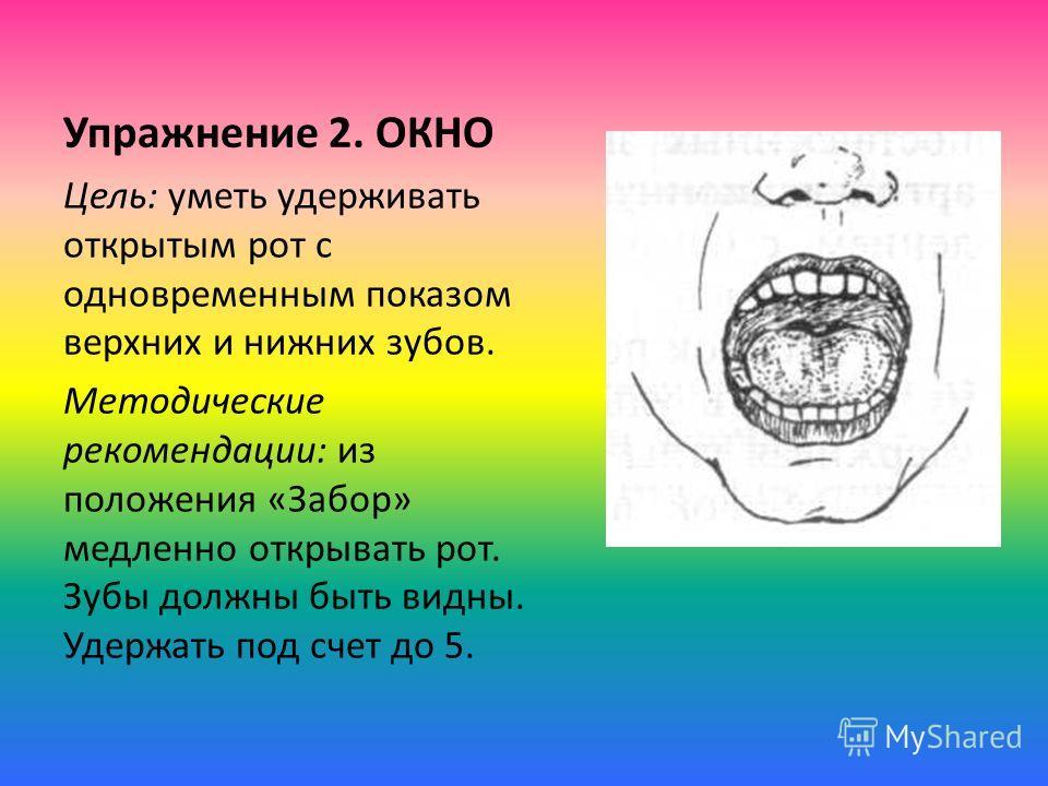 Упражнение 2. ОКНО Цель: уметь удерживать открытым рот с одновременным показом верхних и нижних зубов. Методические рекомендации: из положения «Забор» медленно открывать рот. Зубы должны быть видны. Удержать под счет до 5.