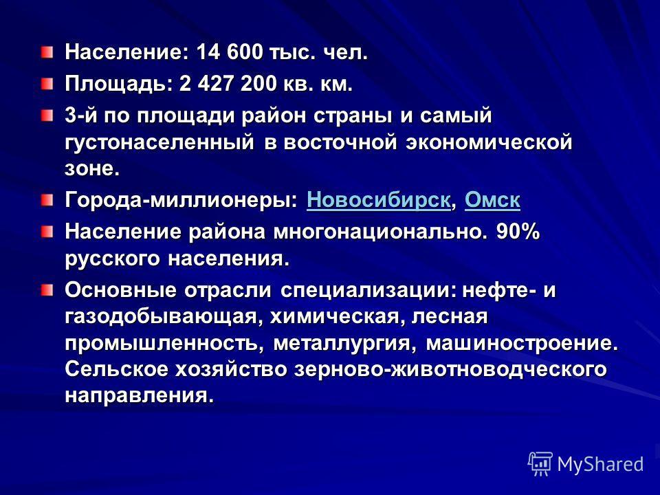 Население: 14 600 тыс. чел. Площадь: 2 427 200 кв. км. 3-й по площади район страны и самый густонаселенный в восточной экономической зоне. Города-миллионеры: Новосибирск, Омск НовосибирскОмскНовосибирскОмск Население района многонационально. 90% русс