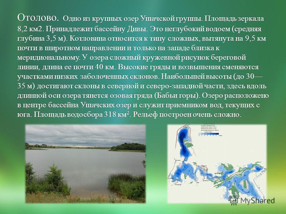 Отолово. Одно из крупных озер Ушачской группы. Площадь зеркала 8,2 км2. Принадлежит бассейну Дивы. Это неглубокий водоем (средняя глубина 3,5 м). Котловина относится к типу сложных, вытянута на 9,5 км почти в широтном направлении и только на западе б
